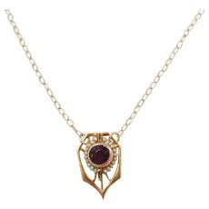 Victorian 10k Gold Purple Glass and Seed Pearl Necklace ~ Converted Stick Pin
