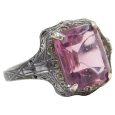 Art Deco Sterling Silver Purple Paste Ring