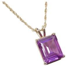 """Vintage 14k Gold 6.25 Carat Purple Sapphire Necklace ~ 18"""""""