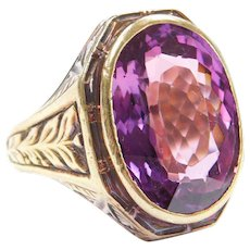 Victorian 17.75 Carat Color Changing Purple / Pink Sapphire Men's 14k Gold Ring