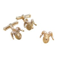 Vintage 10k Gold Men's Ram Head Cufflinks and Tie Tack ~ Gold Filled Cufflink Parts