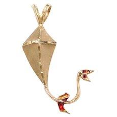 14k Gold Red Enamel Kite Pendant / Charm