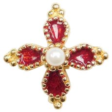 14k Gold Red Enamel and Cultured Pearl Pendant / Charm