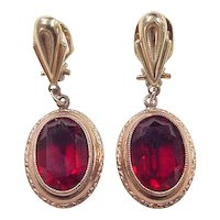 Victorian 10k Gold Clip-On Dangle Red Glass Earrings