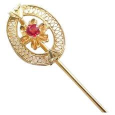 Edwardian 14k Gold Red Glass Stick Pin