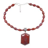 "Sterling Silver Red Jasper Beaded Necklace with Pendant ~ 17 1/2"" - 20 1/4"""