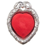 1955 Reed & Barton Sterling Silver Red Velvet Floral Repousse Pattern Heart Pin Cushion