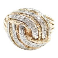Retro 14k Gold .21 ctw Diamond Dome Ring 14k Yellow and White Gold ~ Two-Tone