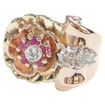 Retro 14k Gold Tri-Color .60 ctw Ruby and Diamond Flower Ring ~ Yellow, Rose and White Gold