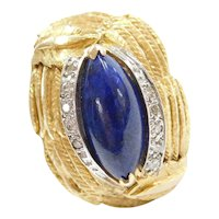 Big Retro Lapis Lazuli and Diamond Cocktail Ring with Leaf Detail 14k Gold