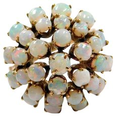 Retro 14k Gold 2.90 ctw Opal Cluster Ring