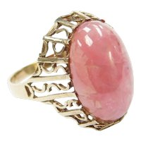 Retro Rhodochrosite Dome Ring 9k Gold