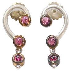 Sterling Silver Rhodolite Garnet Earrings with Gold Plated Bezel Settings
