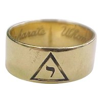 "Masonic 14k Gold Shriners Band Ring  ""Whom Virtue Unites Death Cannot Separate"""