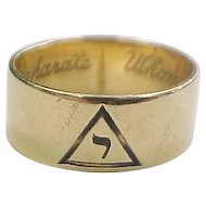 """Masonic 14k Gold Shriners Band Ring  """"Whom Virtue Unites Death Cannot Separate"""""""