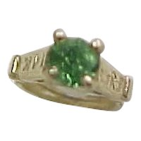 Vintage 14k Gold Ring Charm with Green Glass