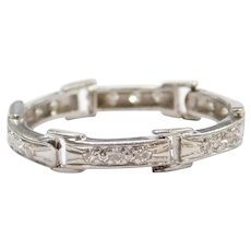 Art Deco 18k White Gold Converted Watch Strap Ring