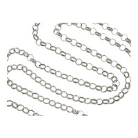 "Vintage Sterling Silver LONG Rolo Link Chain ~ 38"" ~ 29.9 Grams"