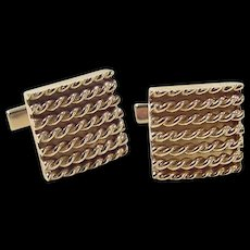 Vintage 14k Gold Rope Cuff Links