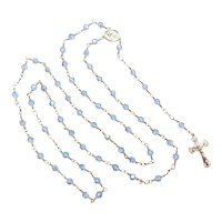 Sterling Silver Religious Rosary Beads with Crucifix ~ Blue Glass Aurora Borealis