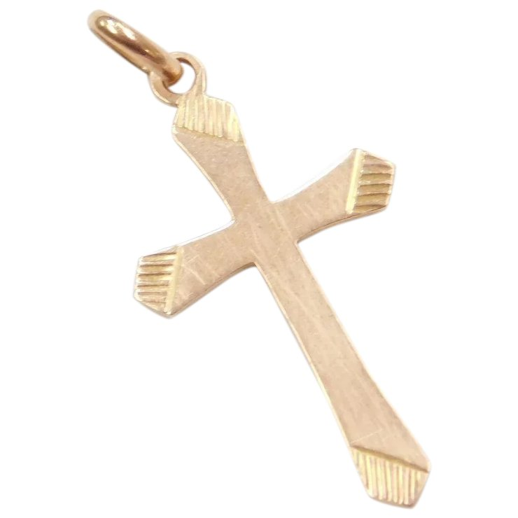 14k rose gold cross pendant arnold jewelers ruby lane 14k rose gold cross pendant aloadofball Choice Image