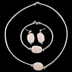 Sterling Silver Rose Quartz Set ~ Necklace, Bracelet and Earrings
