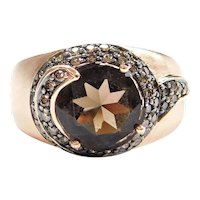 14k Rose Gold 2.76 ctw Smoky Quartz and Chocolate Diamond Swirl Fashion Ring