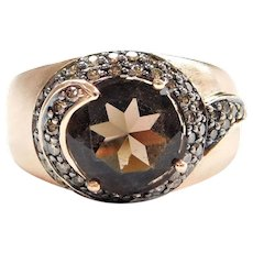 14k Rose Gold 2.76 ctw Smoky Quartz and Chocolate Diamond Swirl Fashion Ring