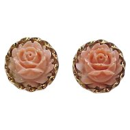 Vintage 14k Gold Angel Skin Coral Carved Rose Stud Earrings