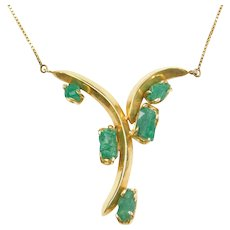 """16"""" 18k Gold Natural Rough Emerald Necklace"""