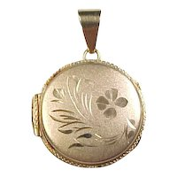 Vintage 14k Gold Round Flower Locket Pendant
