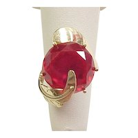 Vintage 14k Gold 17.7 Carat Ruby Cocktail Ring Circa 1960's