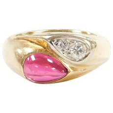 Vintage 14k Gold Men's Ruby and Diamond Bypass Ring