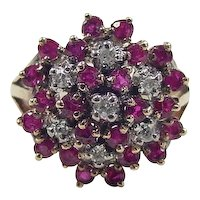 Vintage 14k Gold 1.285 ctw Ruby and Diamond Cluster Ring