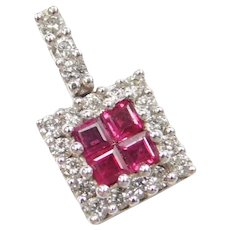 14k White Gold .65 ctw Ruby and Diamond Square Pendant