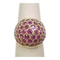 Vintage 14k Gold Natural Ruby Dome Ring