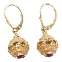 14k Gold Ornate Ball Drop Earrings with Natural Ruby Accents ~ Lever Backs