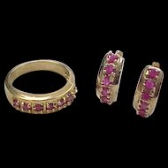 Vintage Gold Vermeil Natural Ruby Huggie Hoop Earrings and Ring Set