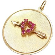 Vintage 14k Gold Ruby Heart and Arrow Disk Charm