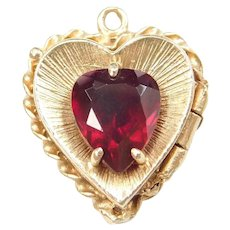 14k Gold Ruby Heart Locket