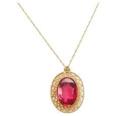 "18"" Edwardian Ruby Red Glass Necklace 10k Gold"