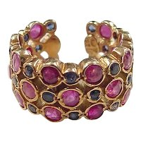 Vintage 18k Gold Ruby and Sapphire Band ~ Adjustable