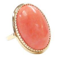 Big Vintage Peachy Orange Coral Ring 18k Gold