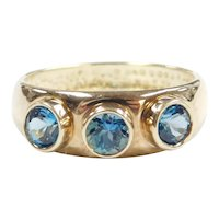 London Blue Topaz .90 ctw Three Stone Ring 14k Gold