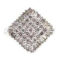 Diamond 1.115 ctw Kite Shape Cluster Ring 14k White Gold