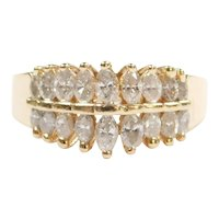 Diamond 1.03 ctw Marquise Double Row Band Ring 14k Gold