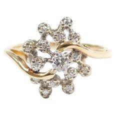 Diamond .28 ctw Freeform Cluster Ring 14k Gold Two-Tone