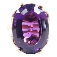 Vintage Gem Quality Amethyst 11.00 Carat Solitaire Ring 14k Gold