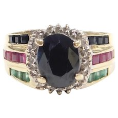 Colorful Gemstone Halo Ring 3.28 ctw 14k Gold Two-Tone Sapphire, Ruby, Emerald and Diamonds