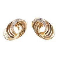 Diamond .06 ctw Interlocking Circle Stud Earrings 14k Gold Two-Tone
